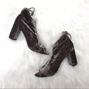 Report crushed velvet peep toe block heels size 8